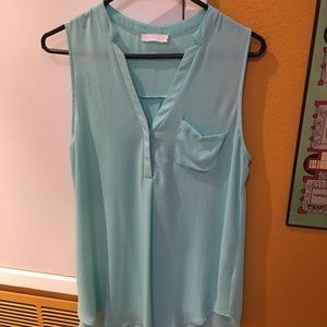 Lush Turquoise Sleeveless Blouse Medium